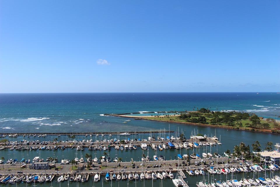Hawaii, Blue Sky, Sea, Boat, Horizon, Natural, Water