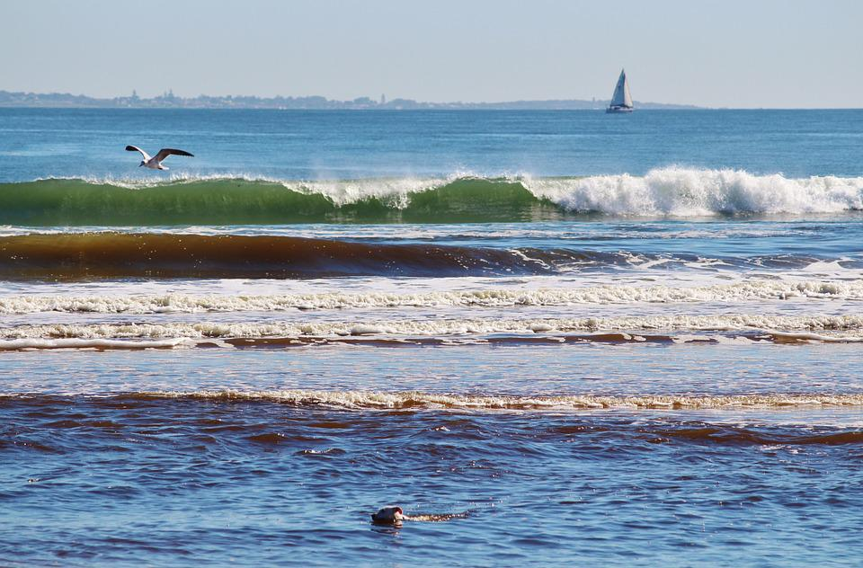 Wave, Beach, Sailing Boat, South Africa, Horizon