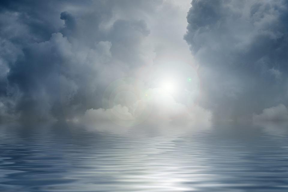 Sea, Clouds, Sky, Wave, Water, Night, Horizon, Light