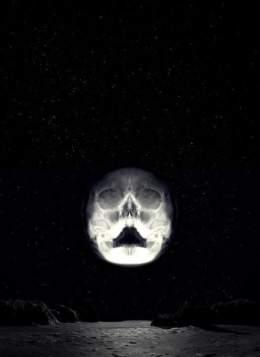 Skull, Landscape, Starry Sky, Space, Death, Horror