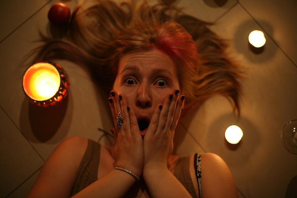 Woman, Horror, Candles, Fear, Surprise