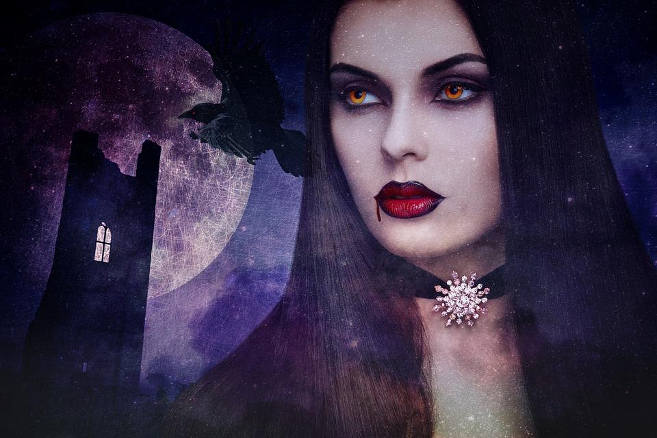 Vampire, Halloween, Ruined Castle, Raven, Woman, Horror