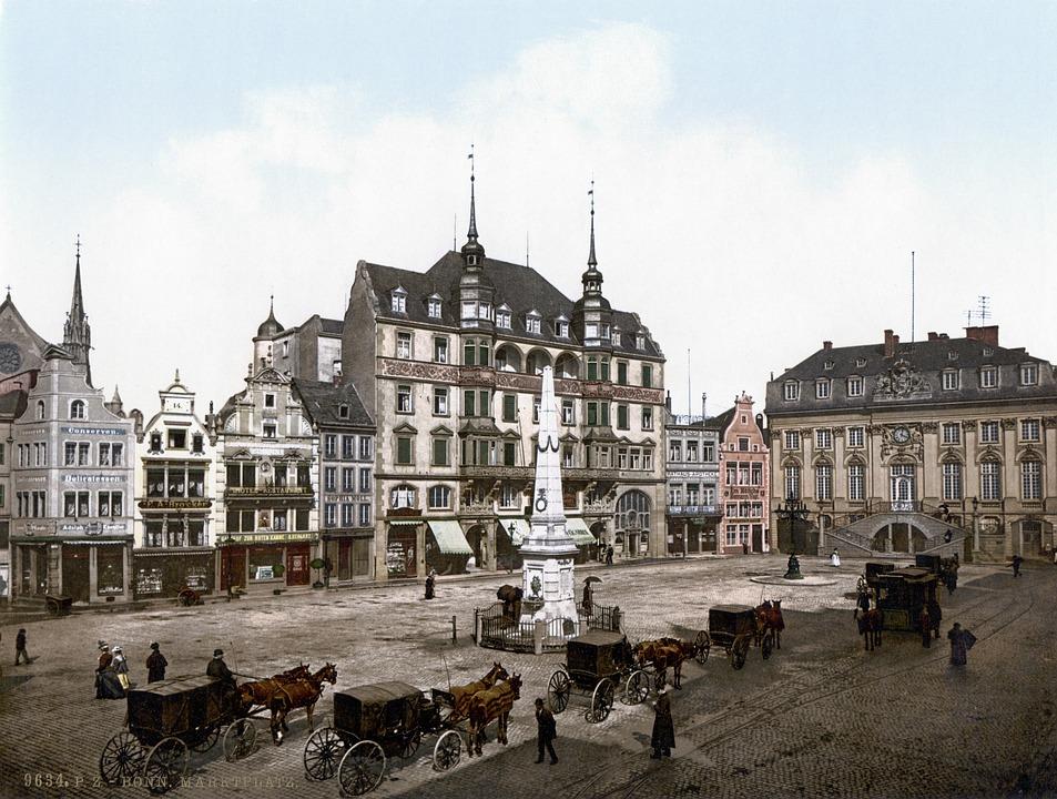 Town Hall, Horse Drawn Carriage, Bonn, 1900, Photochrom