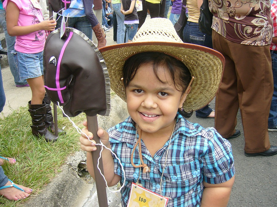 Girl, Cowboy, Party, Hat, Horse, Parade, Happy