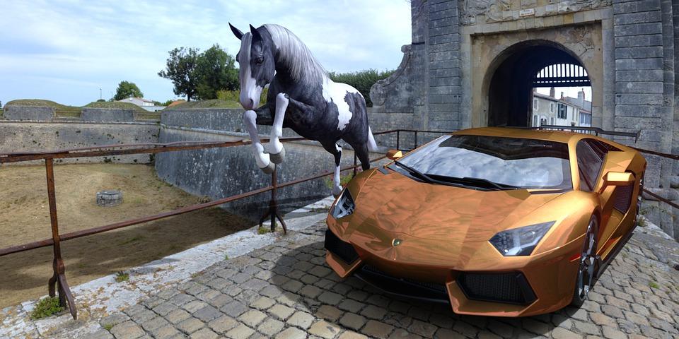 A Car And A Horse, Car, Sports Car, Horse Jumping