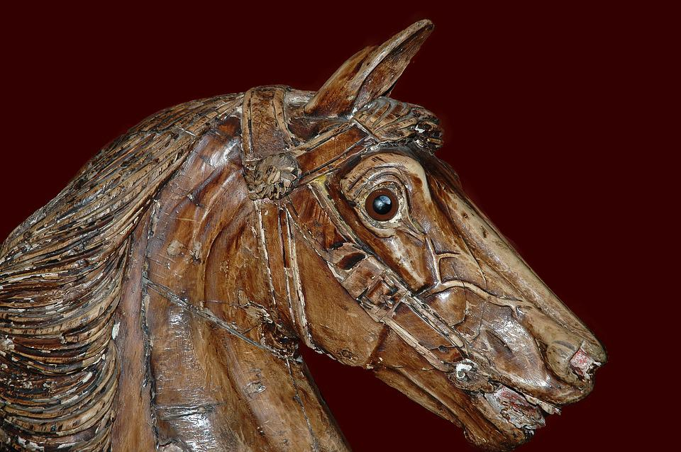 Horse, Wood, Museum, Chantilly, France, Vintage, Former