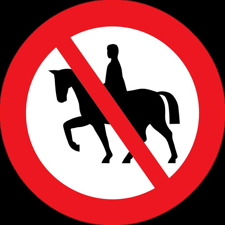 Sign, Riding, Prohibited, Horse