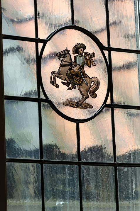 Stained Glass, Window, Rider, Horse