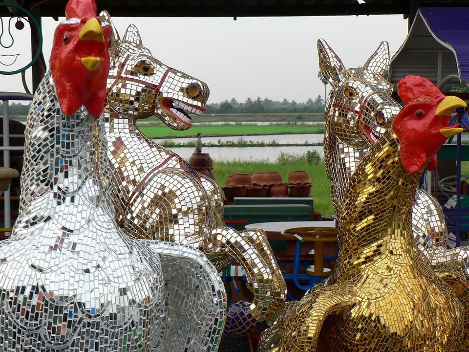 Thailand, Market, Horses, Crafts