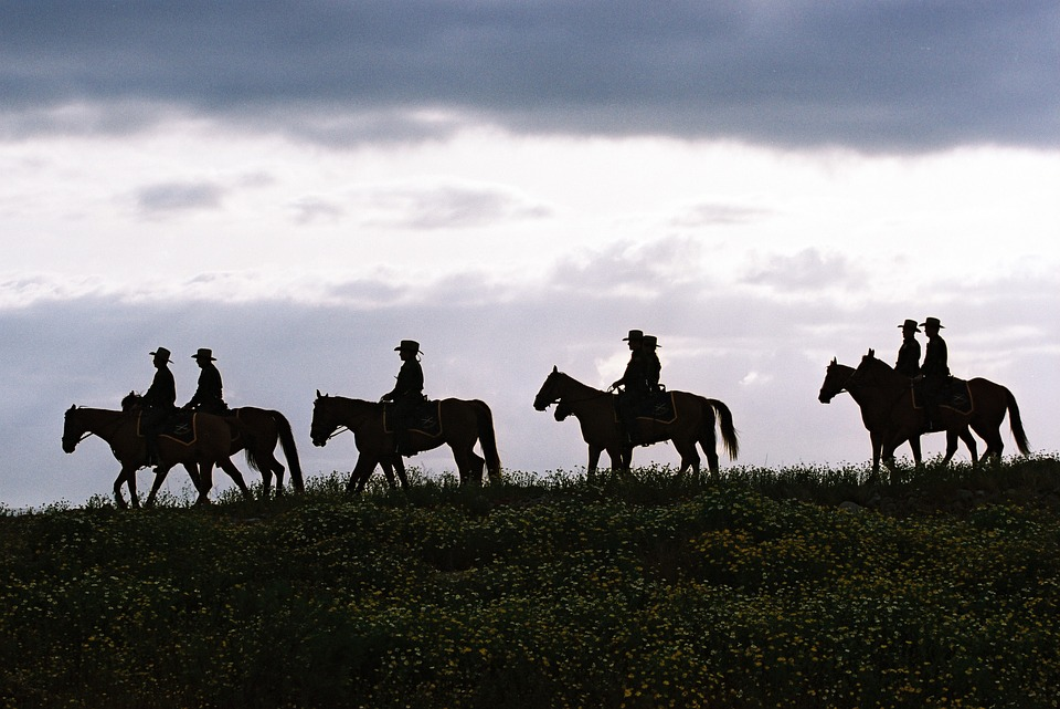 Texas, Sky, Clouds, Men, Riders, Horses, Landscape