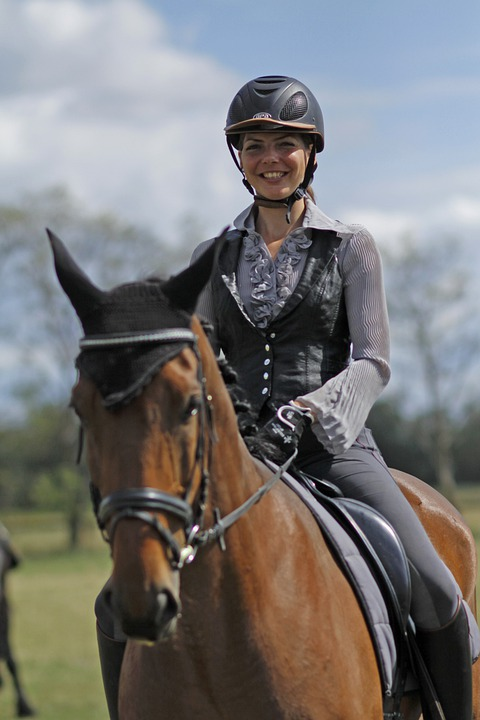 Horsewoman, Woman, Horse, Ride, Dressage, Helm