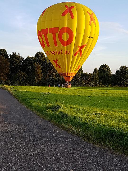 Hot Air Balloon, Landed, Field, Forest, Away, Yellow