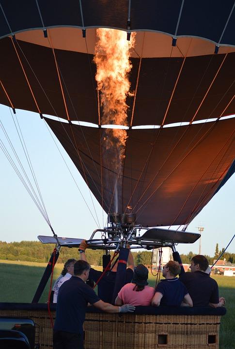 Hot Air Balloon, Captive Balloon, Drive, Burner, Fire