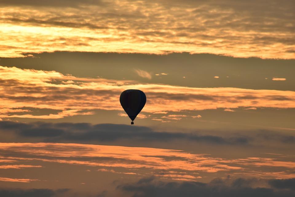 Evening Red, Hot Air Balloon, Balloon, Heaven