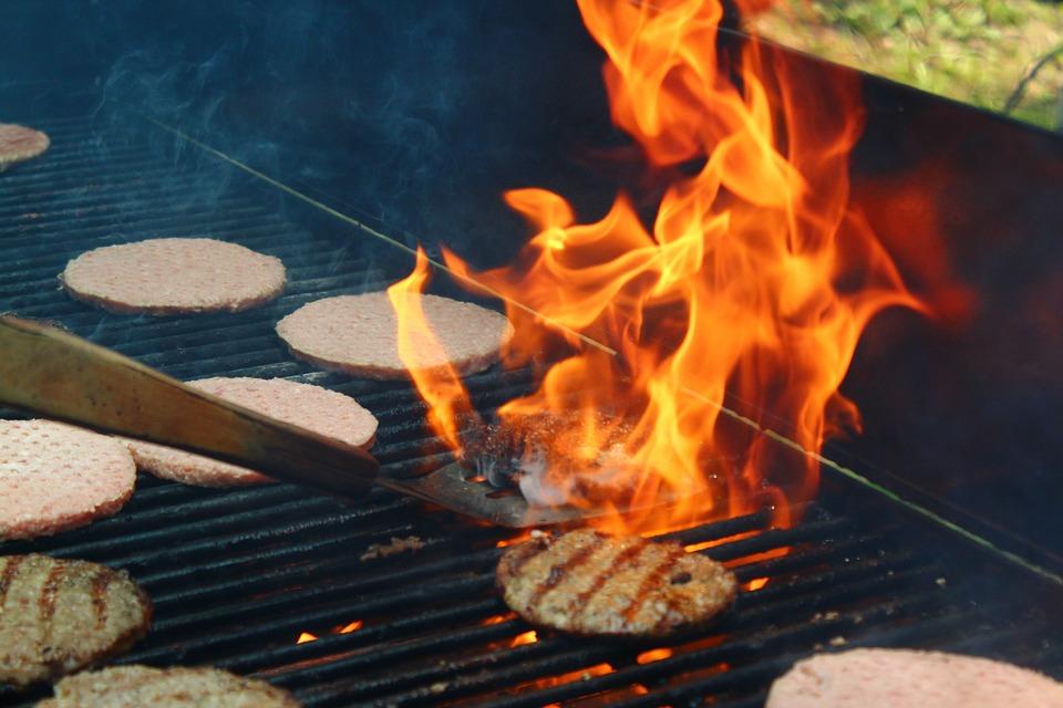 Grill, Flame, Fire, Hamburger, Meat, Food, Hot, Bbq
