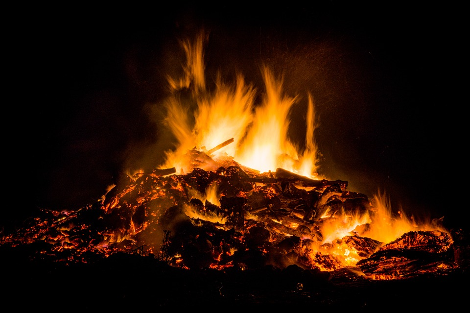 Easter Fire, Bonfire, Fire, Flames, Heat, Hot, Warm
