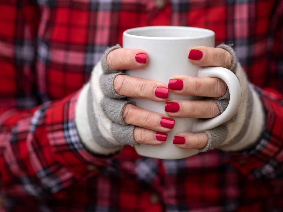 Coffee, Mug, Red, Cup, Hot, Tea, Warm, Fingernails