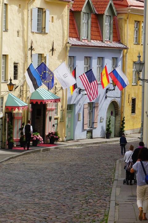 Hotel, Flags, Medieval, Europe, Tourism, Travel
