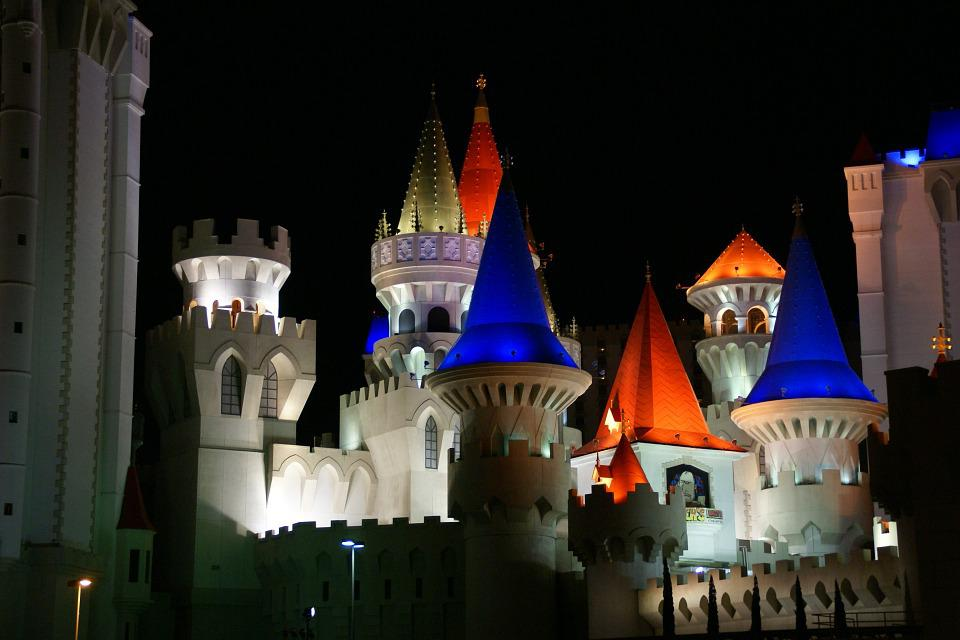 Excalibur, Hotel, Las Vegas, Nevada, Night, Usa, Castle