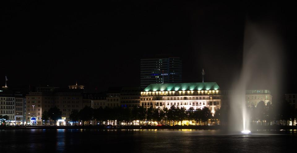 Hamburg, Alster, Water, Night, Hotel Four Seasons