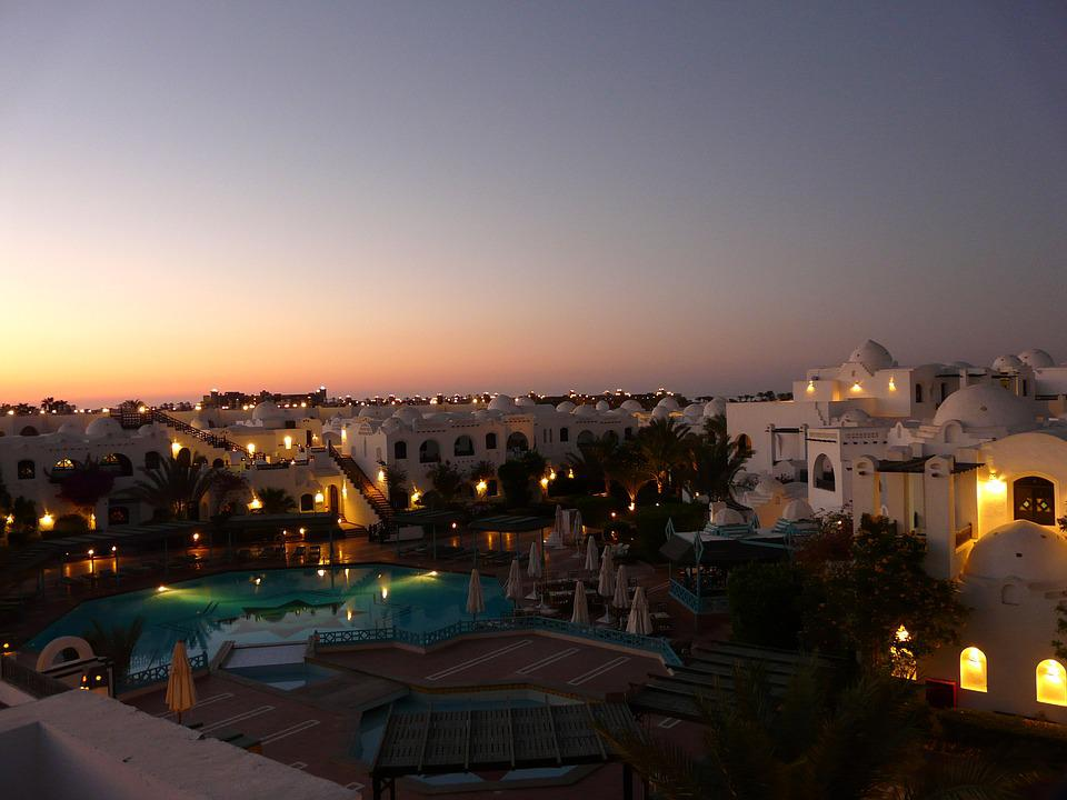 Hurghada, Hotel, Plant, Hotel Roof, Abendstimmung