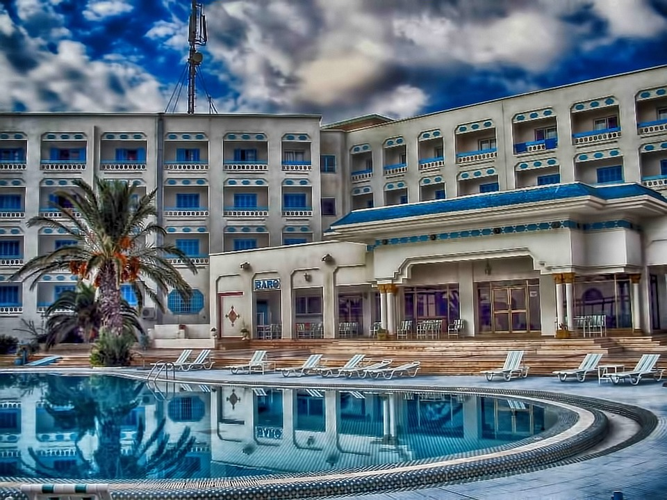 Hotel, Swimming Pool, Tub, Palm Tree, Chairs, Tunisia