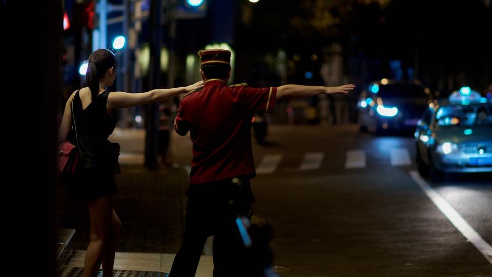 Taxi, Street, Woman, Urban, Stop, Hotel, Road