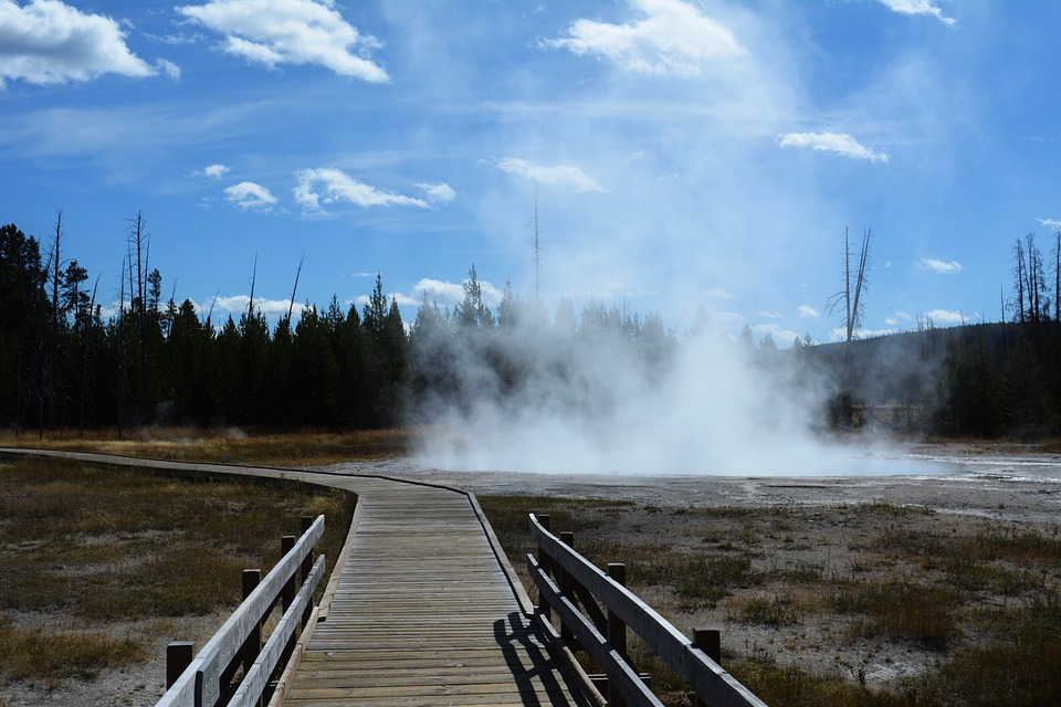 Yellowstone, National Park, Hotspring, Steam, Landscape