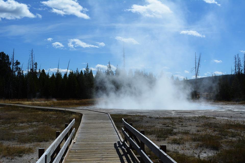 Yellowstone, National Park, Hotspring, Steam, Landscape