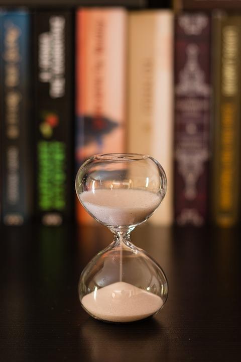 Hourglass, Library, Books, Bookshelf, Sand, Time