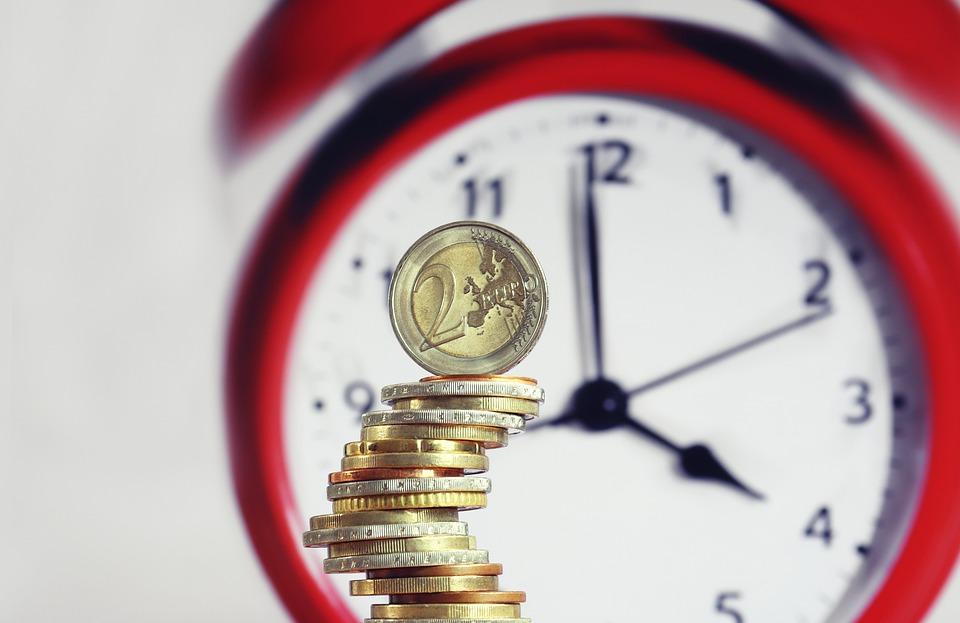 Coins, Money, Clock, Hourly Wage, Euro, Balance