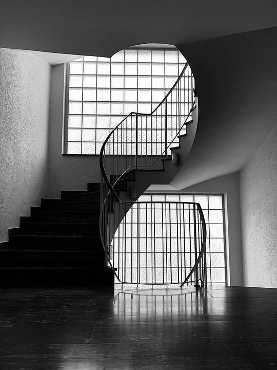 Stairs, House, Architecture, Black And White, Gradually