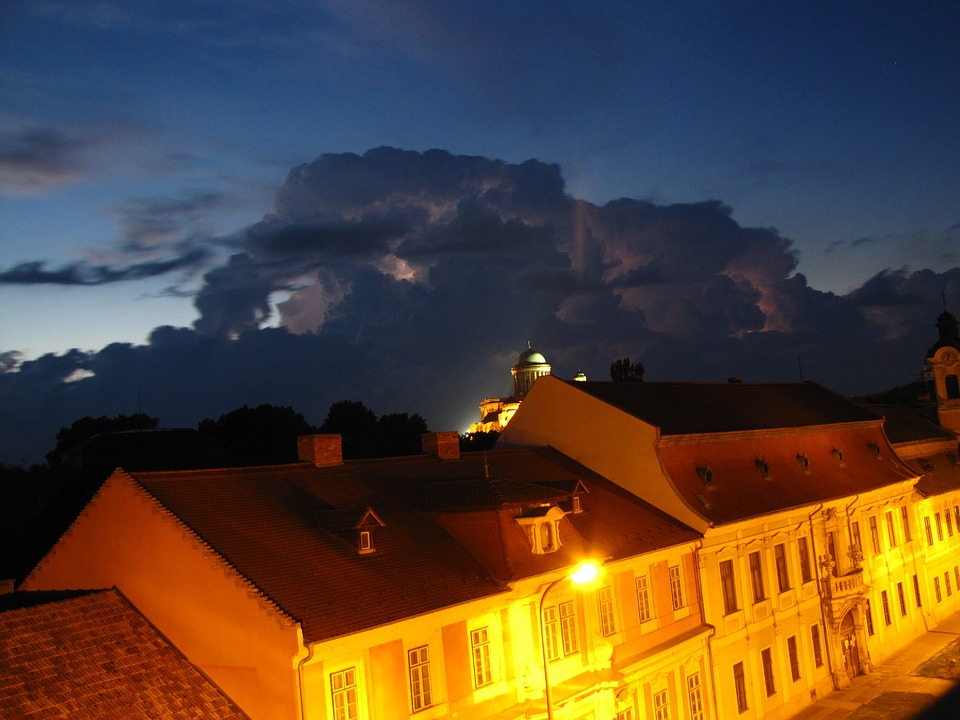 House, Lamp, Storm, Lightning, Stormy, At Night, Night