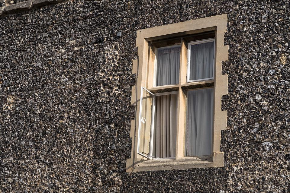 Window, Open, House, Frame, Curtain, Brick, Building
