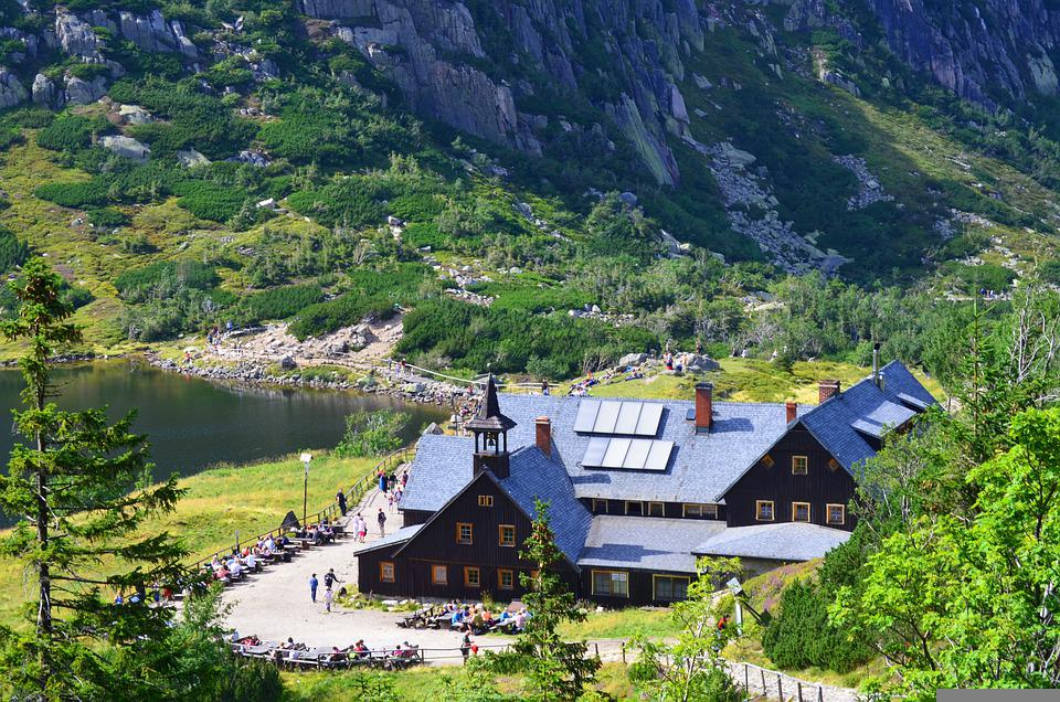 House, Mountains, Lake, Countryside, Building, Rural