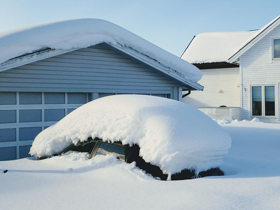 Snow, Winter, Cold, House, Ice, Car Covered In Snow