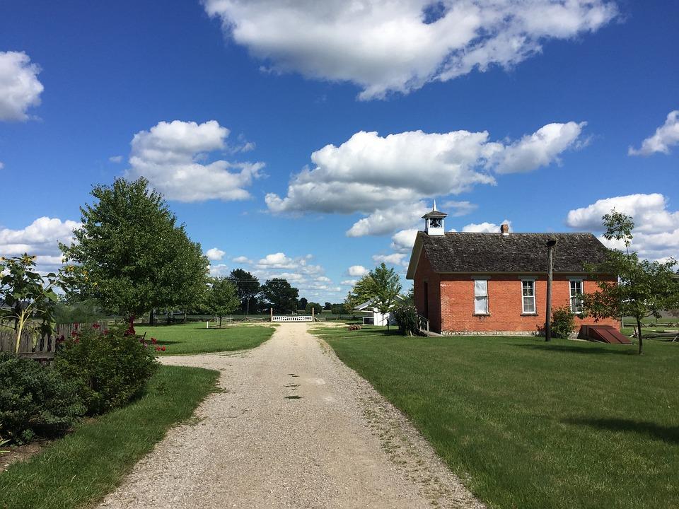 Sky, Path, Brick, House, Landscape, Cloud, Blue
