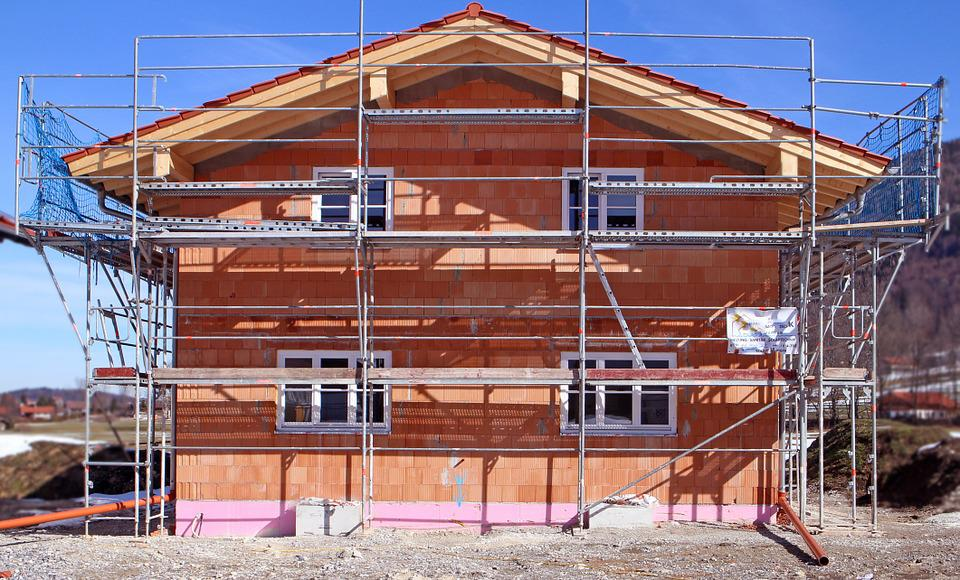 Construction Work, Scaffold, Site, House Construction