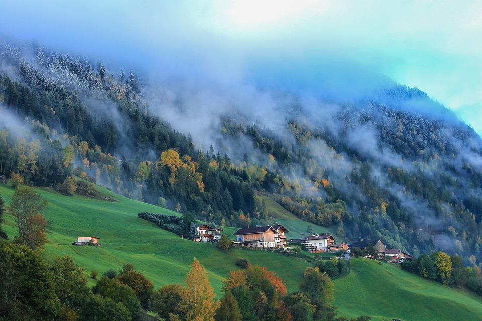 Mountain, Cloud, Critter, Wood, Pine, Landscape, House