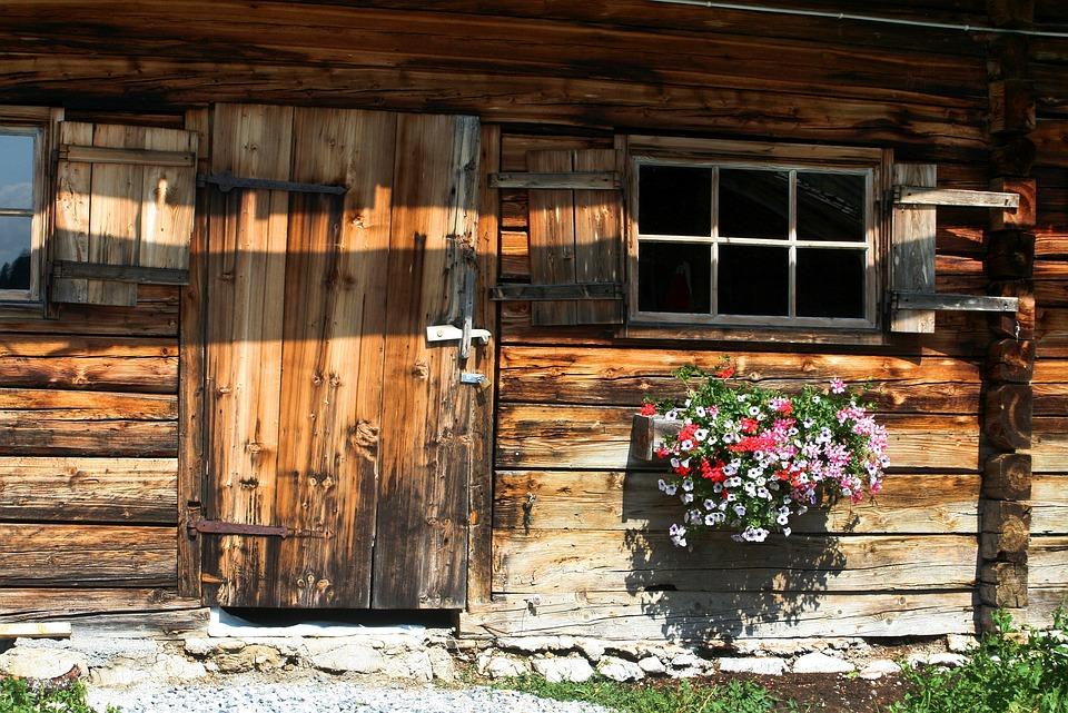 House, Cottage, Door, Window, Building, Geranium