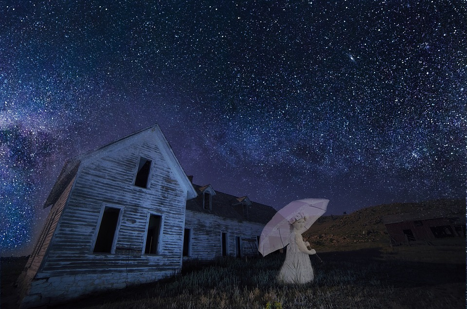 Ghost, Girl, Haunted, House, Abandoned, Prairie, Night