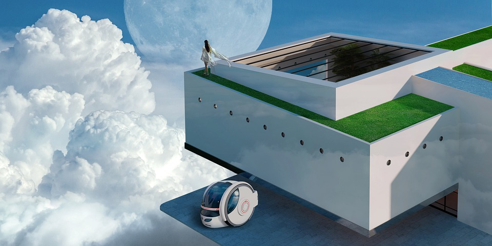 House In The Sky, Render, Composing, Design, Clouds