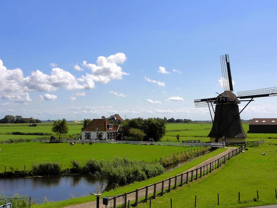 Netherlands, Landscape, Sky, Clouds, Windmill, House