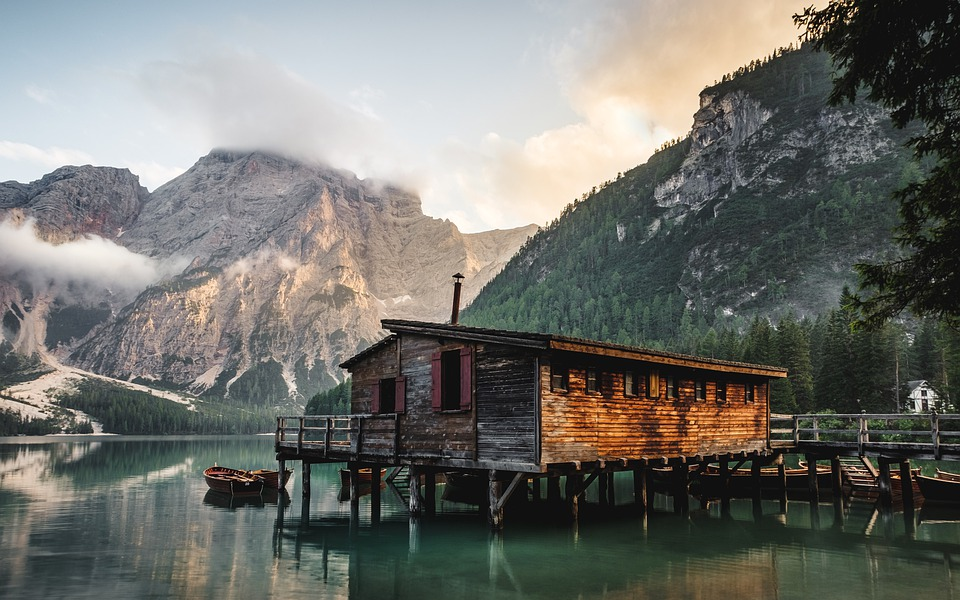 Cabin, House, Wood, Lake, Boat, Mountains, Clouds, Fog