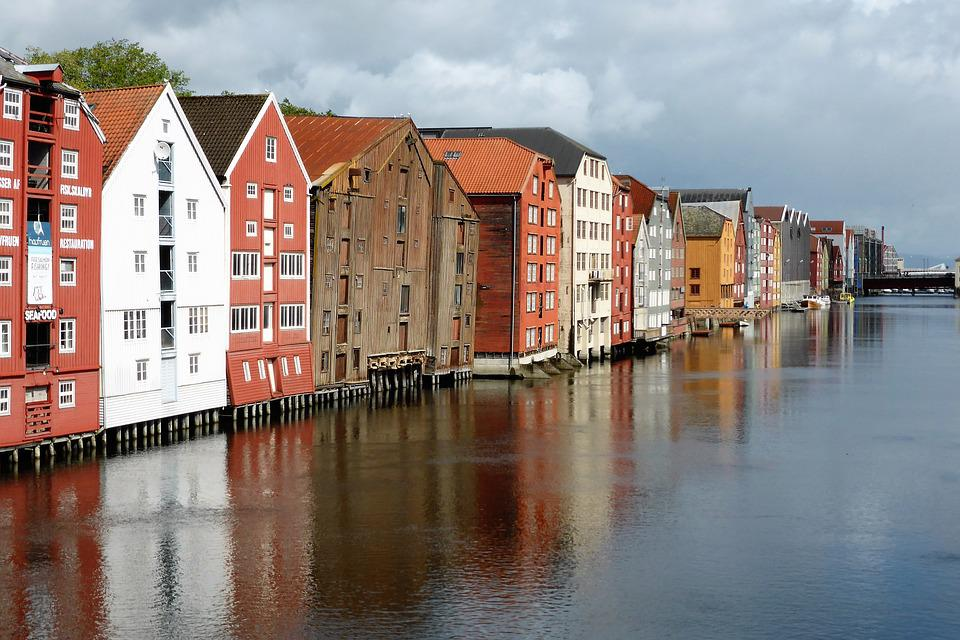House, Old Port, Norway, Trondheim, Wood, Water