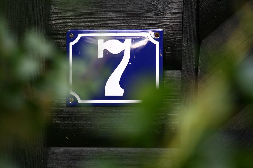 Seven, House Number, Number, Sign, 7, Plate, Old