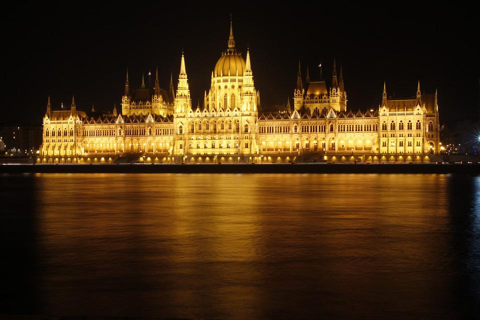 Budapest, House Of Parliament, River Danube, Night
