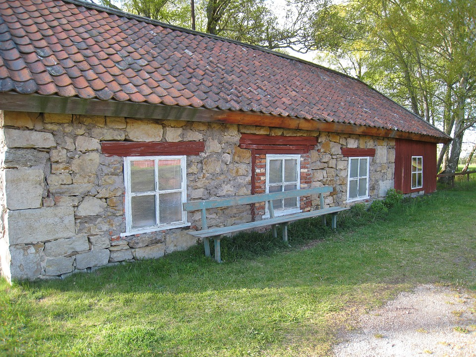 House, Old, Window, Spring, Sweden, Roof, Tree, Grass