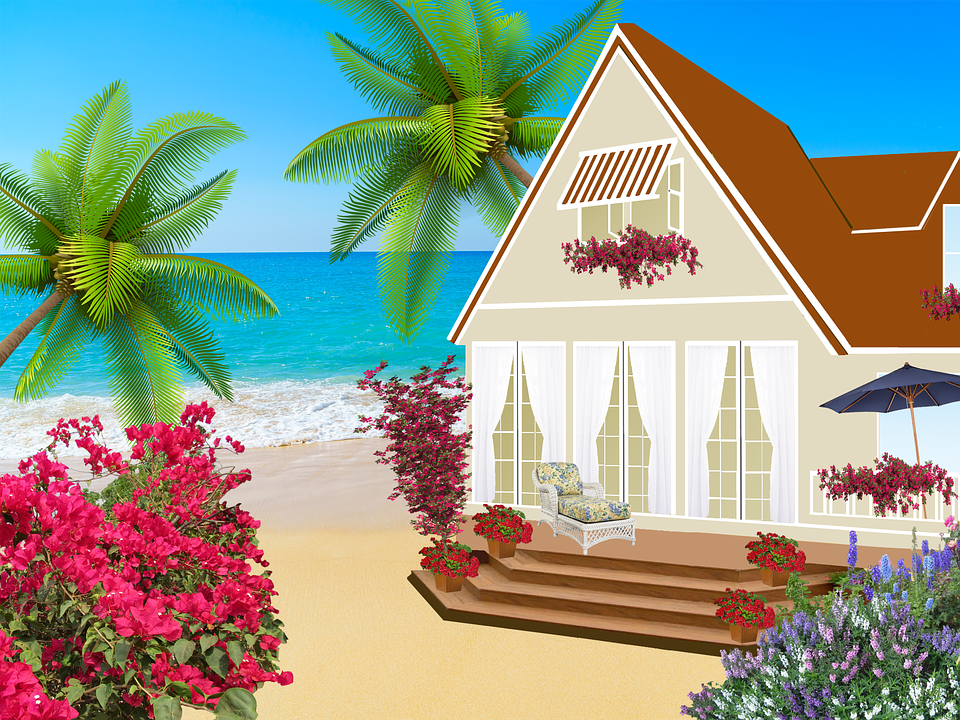 House, Chalet, Trees, Staircase, Patio Door, Palm Trees