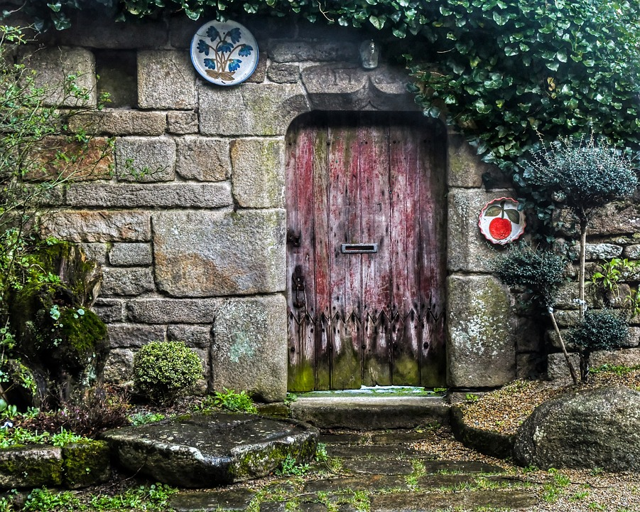 Door, Old, Facade, House, Pierre, Wall, Plate